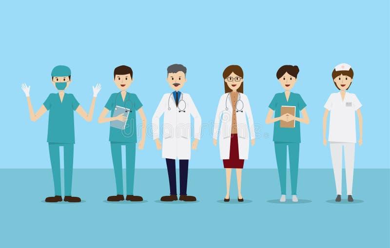 Grupa fabrykuje pielęgniarki zaopatrzenia medycznego pięcioliniowych ludzi ilustracja wektor