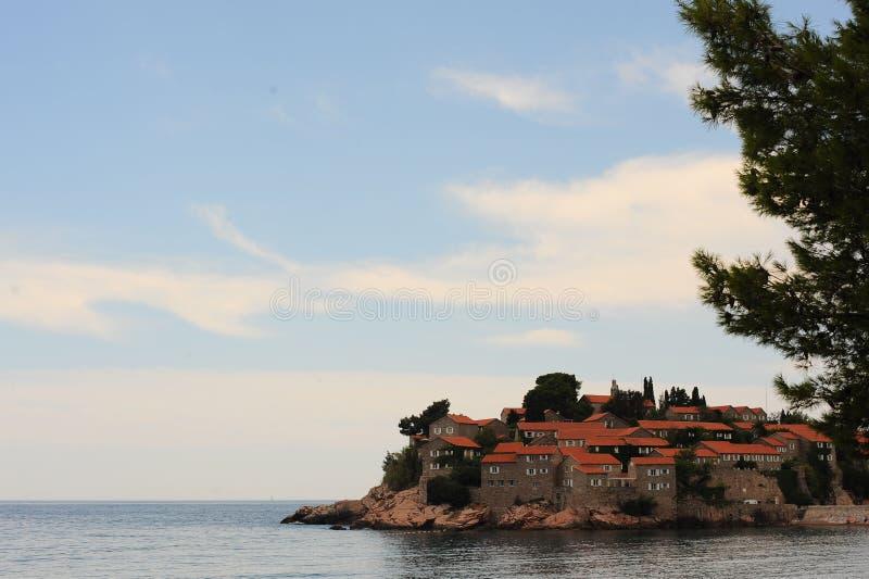 Grupa hotele Aman Sveti Stefan na wyspie w Adriatyckim morzu, Montenegro Bałkany, Europa fotografia royalty free