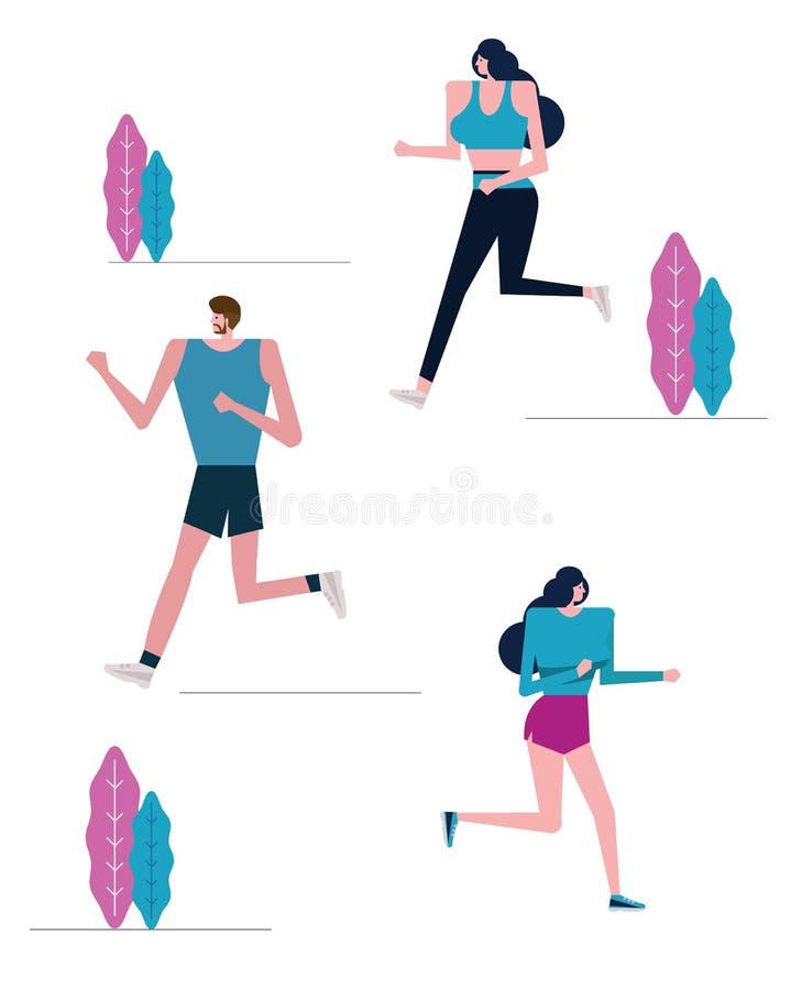 Grupa joggers ćwiczy w parku royalty ilustracja