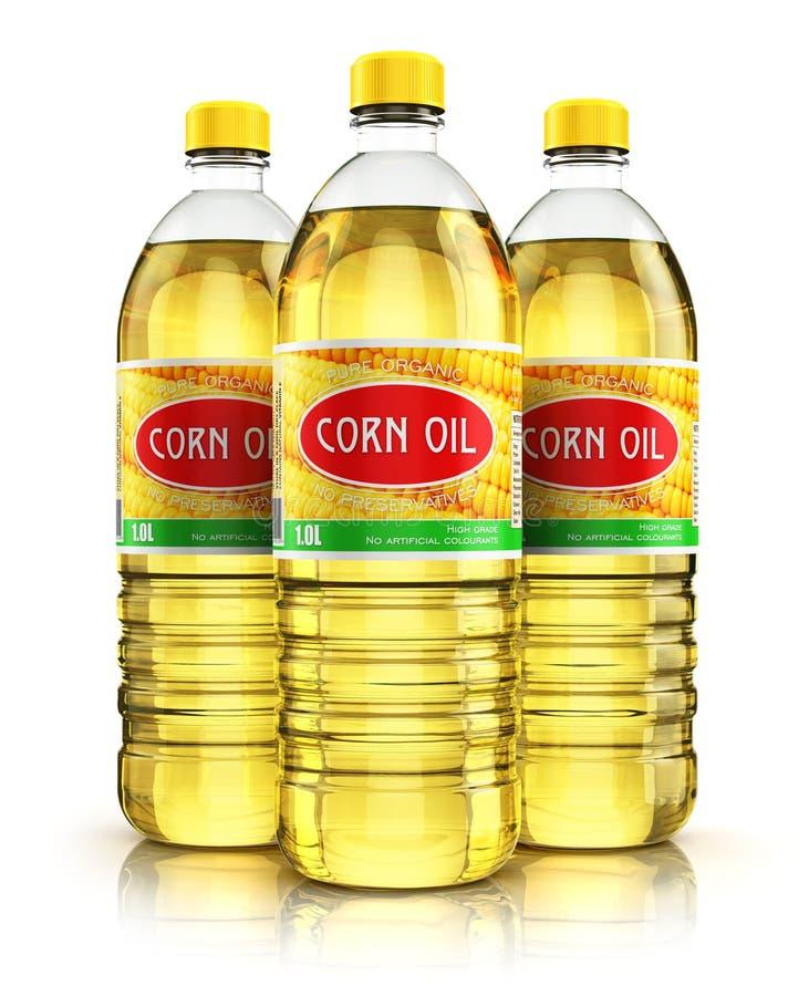Grupa klingeryt butelki z kukurydzanym olejem ilustracji