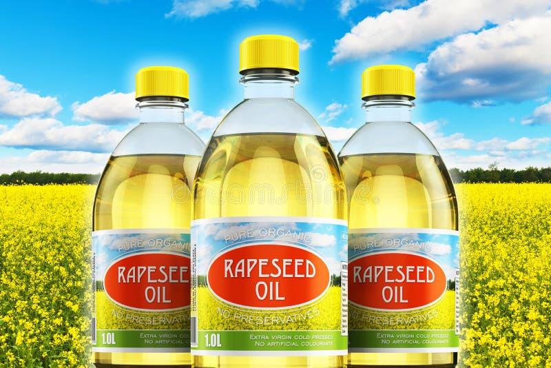 Grupa klingeryt butelki z rapeseed olejem ilustracja wektor