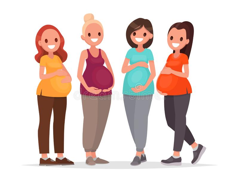 Grupa kobieta w ciąży Przyszłość matki w oczekiwaniu na dziecko również zwrócić corel ilustracji wektora royalty ilustracja