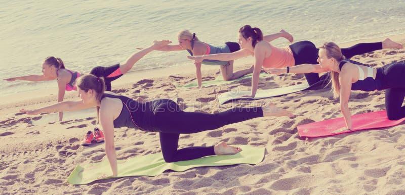 Grupa kobiety ćwiczy joga pozycje obraz stock