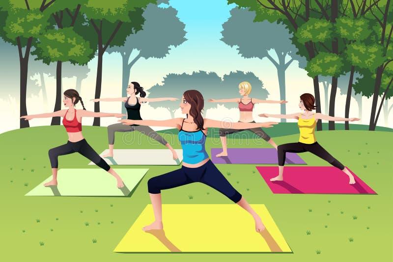Grupa kobiety robi joga w parku royalty ilustracja