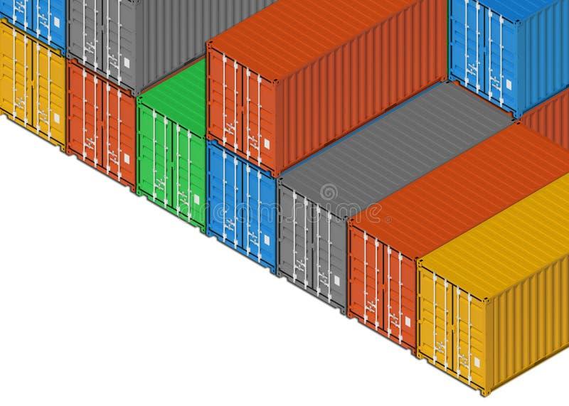 Grupa kolorowego metalu frachtowi kontenery na bielu ilustracja wektor