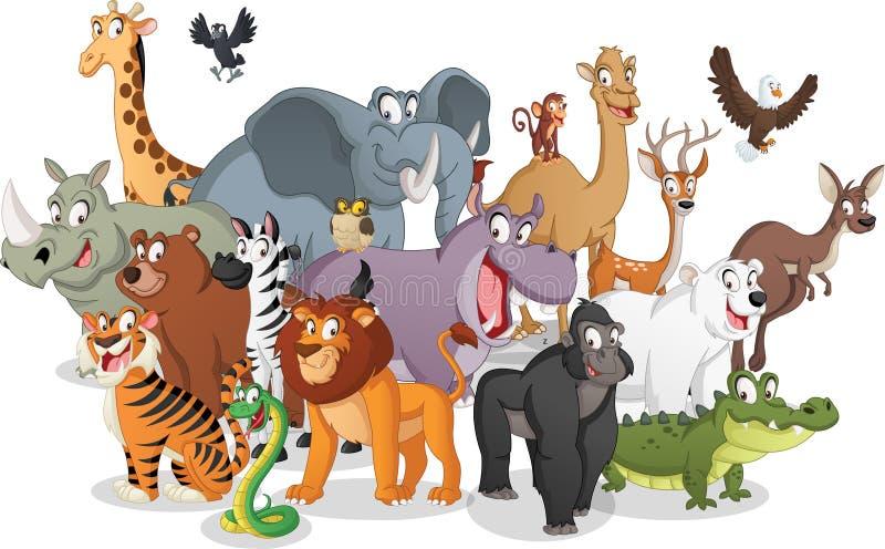 Grupa kreskówek zwierzęta Wektorowa ilustracja śmieszni szczęśliwi zwierzęta ilustracja wektor