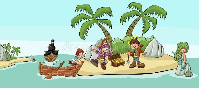 Grupa kreskówka piraci royalty ilustracja