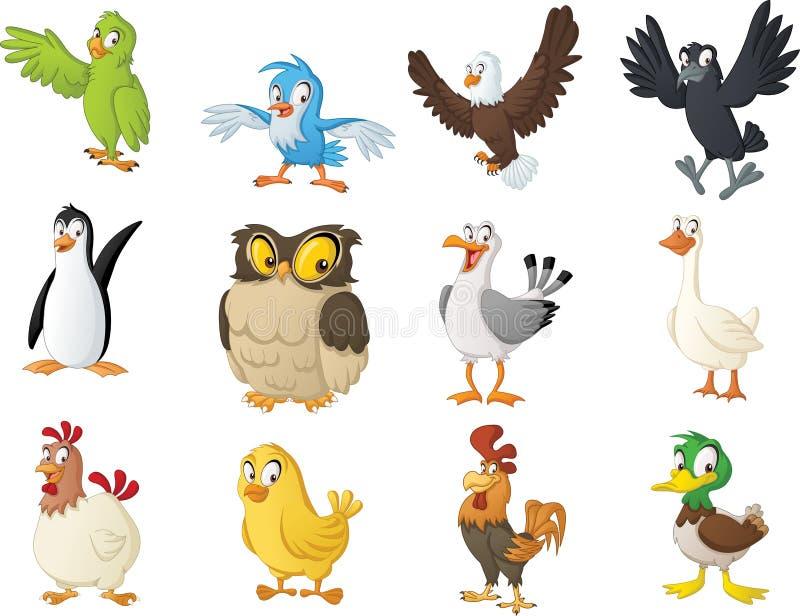Grupa kreskówka ptaki Wektorowa ilustracja śmieszni szczęśliwi zwierzęta ilustracja wektor
