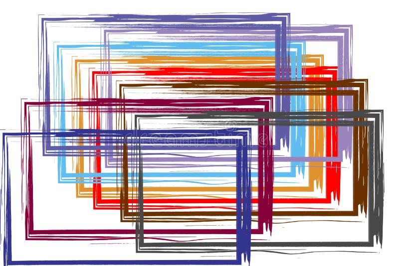 Grupa kwadrat obramia watercolour malującego Abstrakt ilustracji