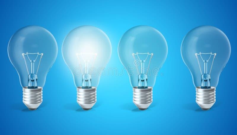 Grupa lampowe żarówki na błękitnym tle z pojedynczą rozjarzoną żarówką Pojęcie innowaci pomysły, 3d rendering ilustracja wektor