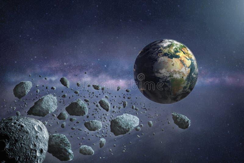 Grupa lata planetować ziemię niebezpieczne asteroidy royalty ilustracja