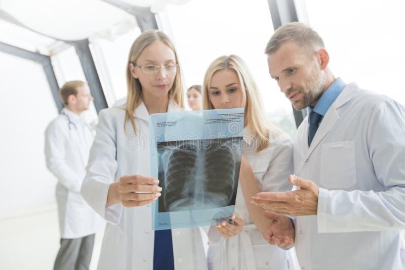 Grupa lekarki dyskutuje promieniowanie rentgenowskie fotografia stock