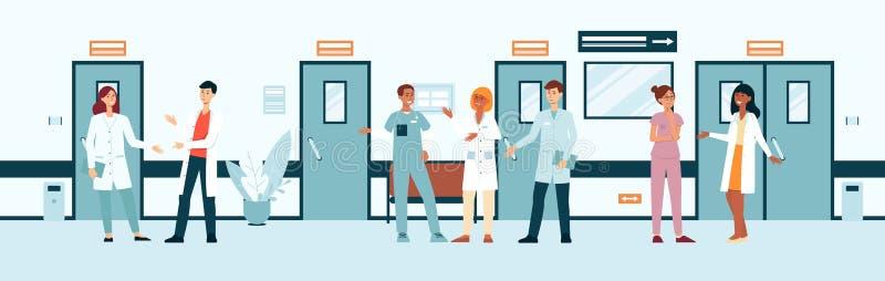 Grupa lekarki i pielęgniarki w szpitalnej korytarz kreskówce lub mieszkanie stylu ilustracja wektor