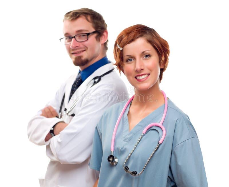 Grupa lekarki lub pielęgniarki na Białym tle obraz royalty free