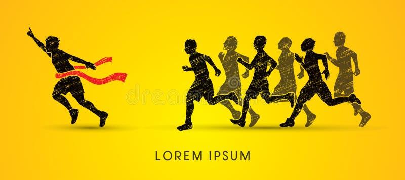 Grupa lub biegacze zwycięzca ilustracja wektor