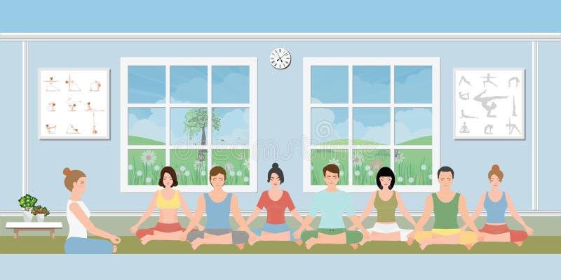 Grupa ludzi ćwiczy medytację royalty ilustracja