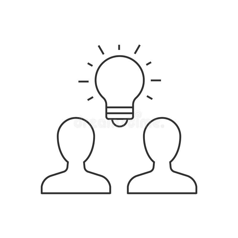 Grupa ludzi brainstorming konturu ikona ilustracji