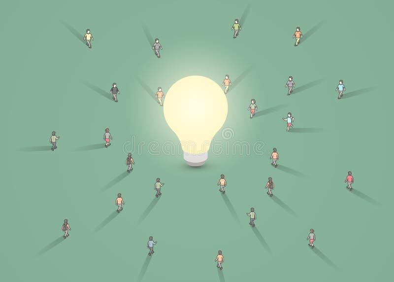 Grupa ludzi chodzi ?ar?wka Brainstorm, inspiracja, pomys?u biznesu poj?cie ilustracja wektor