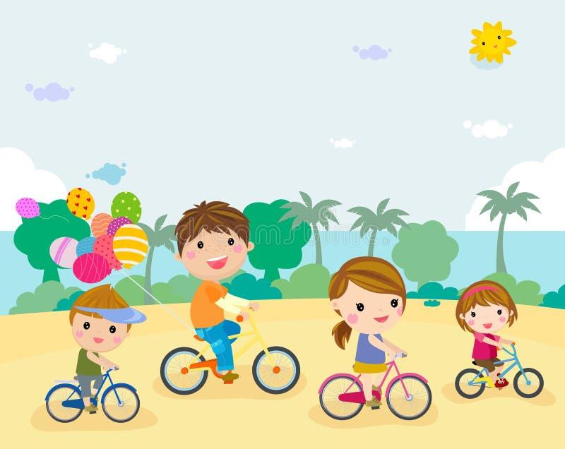 Grupa ludzi jechać na rowerze royalty ilustracja
