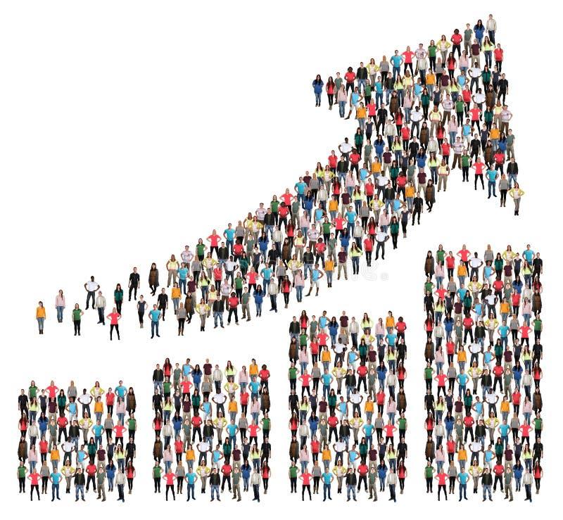 Grupa ludzi sukcesu biznesowego zysku wzrostowej mapy strzała sprzedaże zdjęcie stock