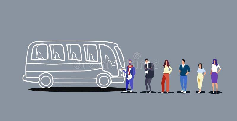 Grupa ludzi turyści stoi kreskową kolejkę wsiadać wycieczka autobusowa mężczyzn kobiet pasażerów czeka przy miasto transportem pu ilustracja wektor
