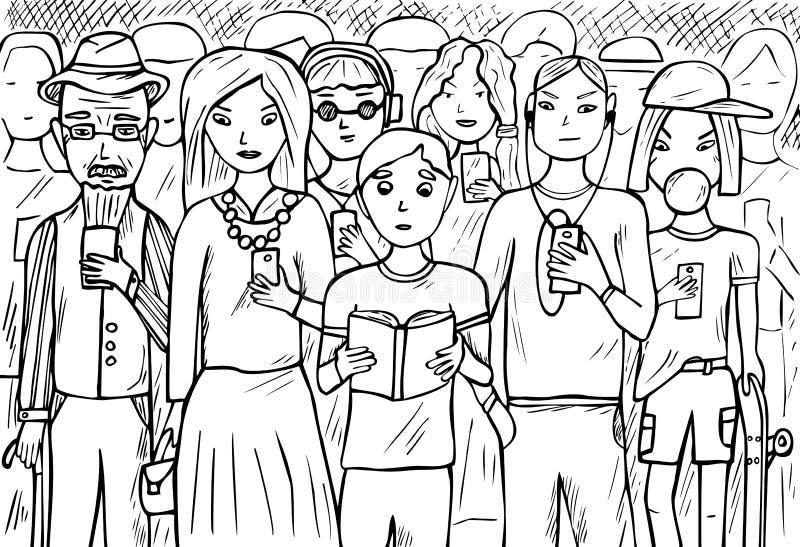 Grupa ludzi używa telefony komórkowych royalty ilustracja