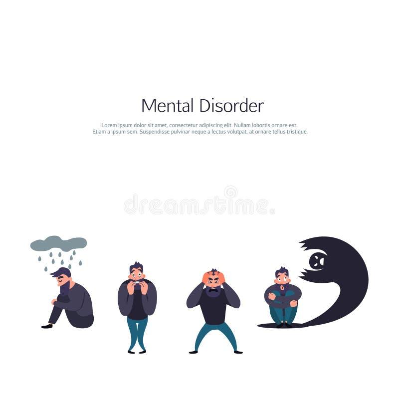 Grupa ludzi z psychologią lub psychiatrycznym problemem Choroba mężczyzna w niepokoju nieładzie Fobia, samobójstwo, strach i inny ilustracja wektor