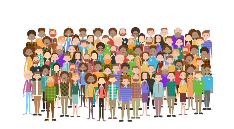 Grupa ludzie biznesu Dużych tłumów biznesmenów Miesza Etniczny Różnorodnego royalty ilustracja
