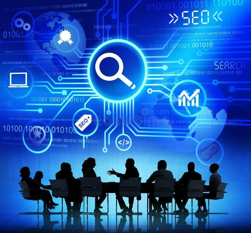 Grupa ludzie biznesu Dyskutuje SEO ilustracja wektor