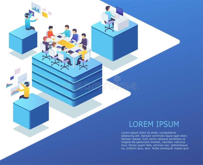 Grupa ludzie biznesu pracuje używać cyfrowych przyrząda rozpoczęcie ilustracja wektor