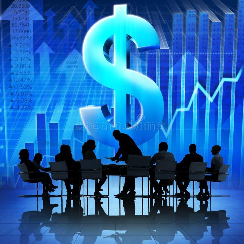 Grupa ludzie biznesu Spotyka na problemu ekonomicznym ilustracja wektor