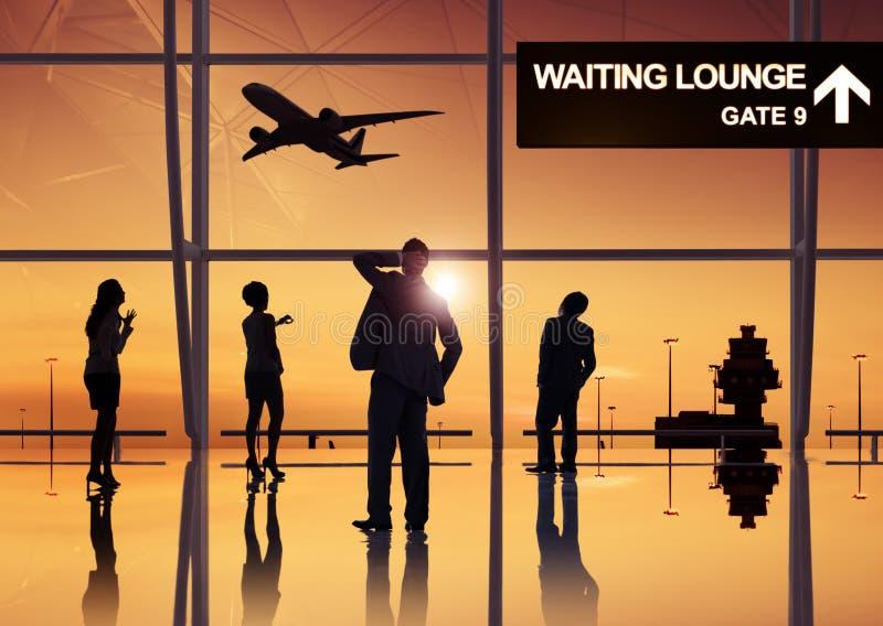 Grupa ludzie biznesu w lotnisku zdjęcia royalty free