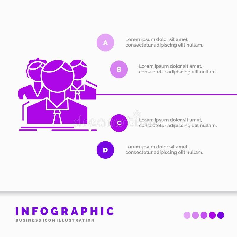 grupa, ludzie, dru?yna, online Infographics szablon dla strony internetowej i prezentacja, dla wielu graczy, glif Purpurowej ikon ilustracja wektor