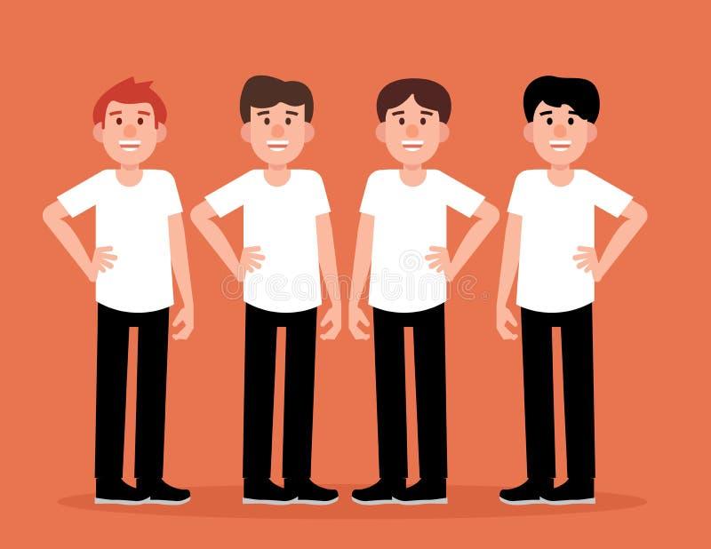 Grupa mężczyźni zaludnia szczęśliwego Pojęcie mężczyzn uśmiechu wektoru ilustracja Charakteru mieszkania styl royalty ilustracja