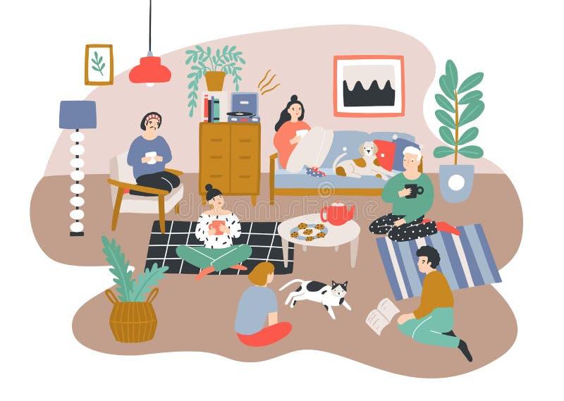 Grupa mężczyzna i kobiety siedzi w pokoju meblującym w Scandic stylu i opowiada each inny Przyjaciele wydaje czas ilustracja wektor