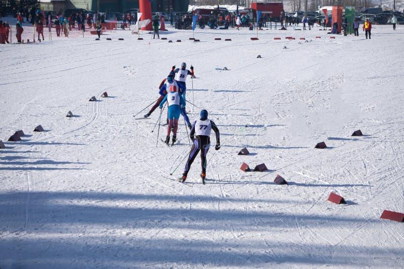 Grupa mężczyzna narciarek iść ciężki frontowy widok podczas narciarskiej rasy mistrzostwa zdjęcia stock