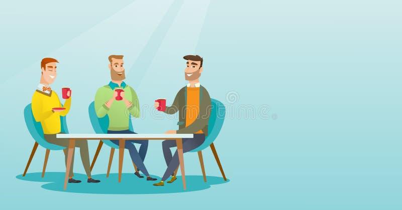 Grupa mężczyzna pije gorących i alkoholicznych napoje ilustracja wektor