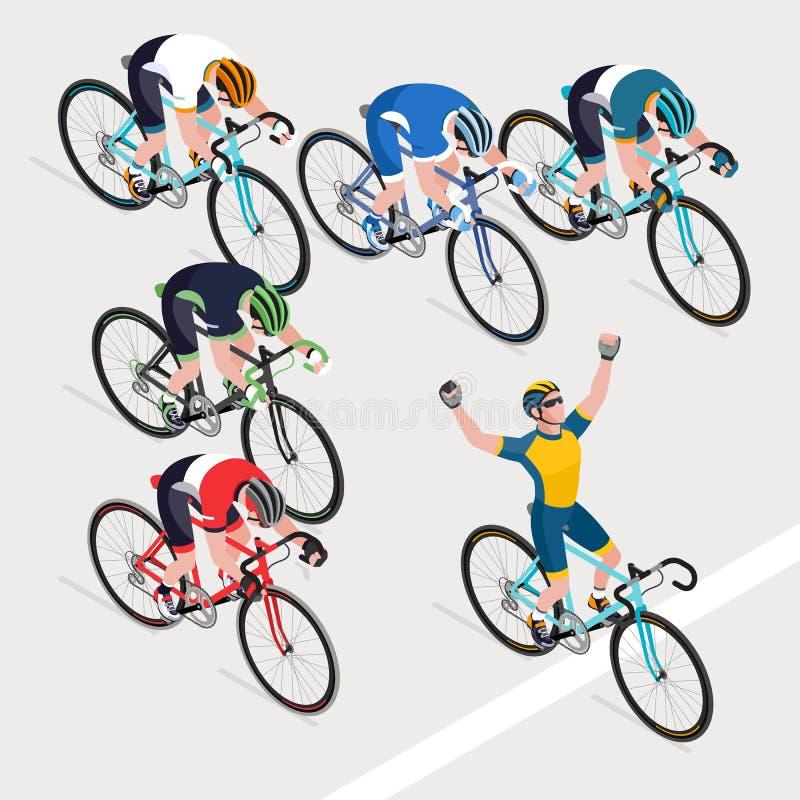 Grupa mężczyzna ` s cykliści w drogowy rowerowy ścigać się dostać zwycięzcy bi ilustracja wektor