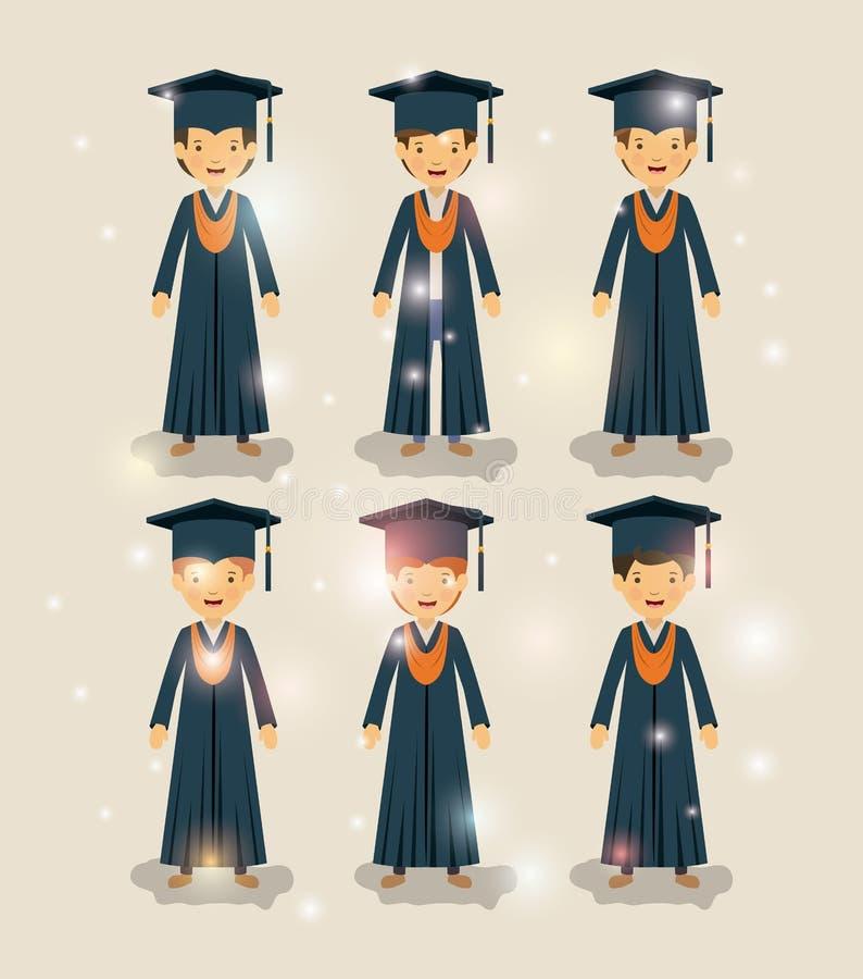 Grupa męskich uczni absolwentów charaktery ilustracji