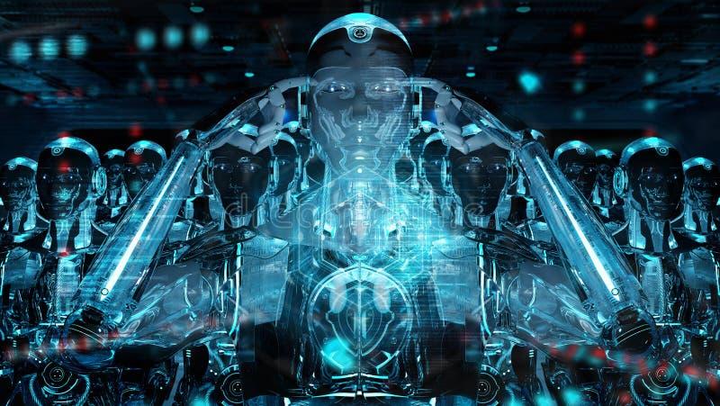 Grupa męskie robot głowy używa cyfrowego hologram ekranizuje 3d rendering royalty ilustracja