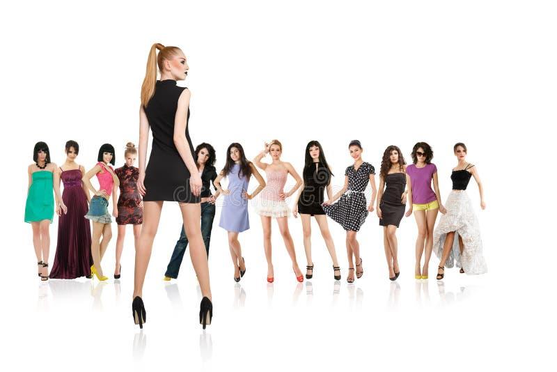 Grupa młode kobiety odizolowywać zdjęcie royalty free