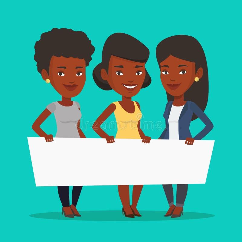 Grupa młode kobiety trzyma białą puste miejsce deskę ilustracja wektor