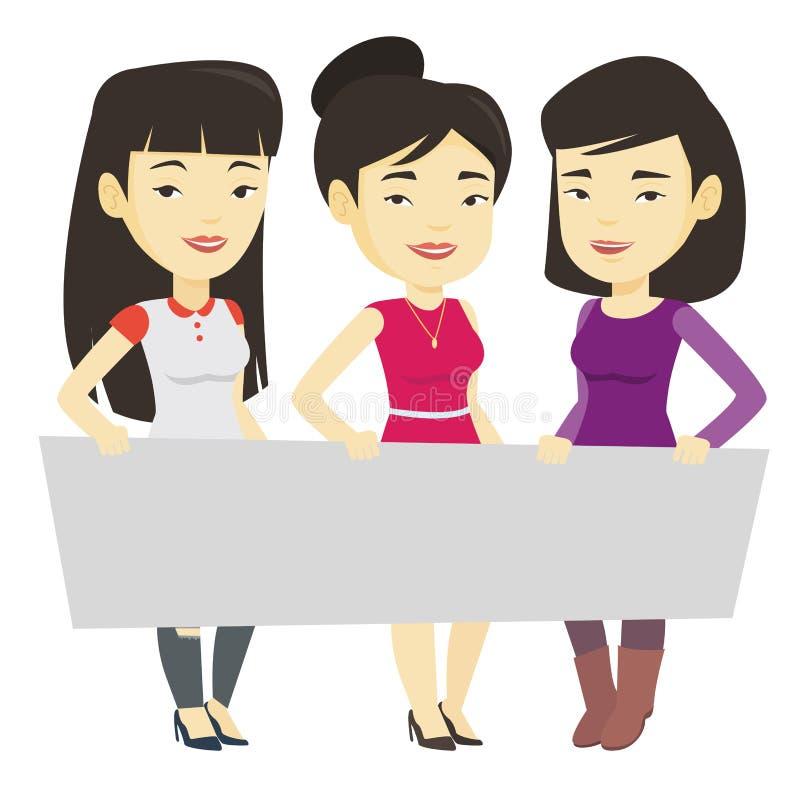 Grupa młode kobiety trzyma białą puste miejsce deskę ilustracji