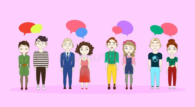 Grupa młodzi człowiecy I kobiety W Przypadkowych ubraniach Z gadka bąbli socjalny Media Communication pojęciem royalty ilustracja