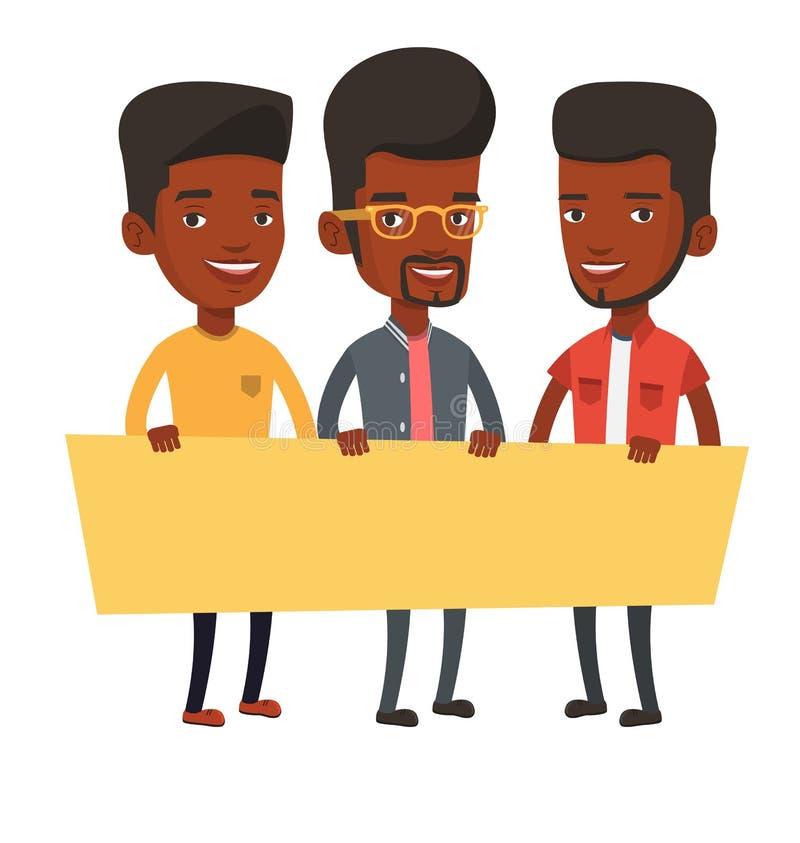 Grupa młodzi człowiecy trzyma puste miejsce deskę royalty ilustracja