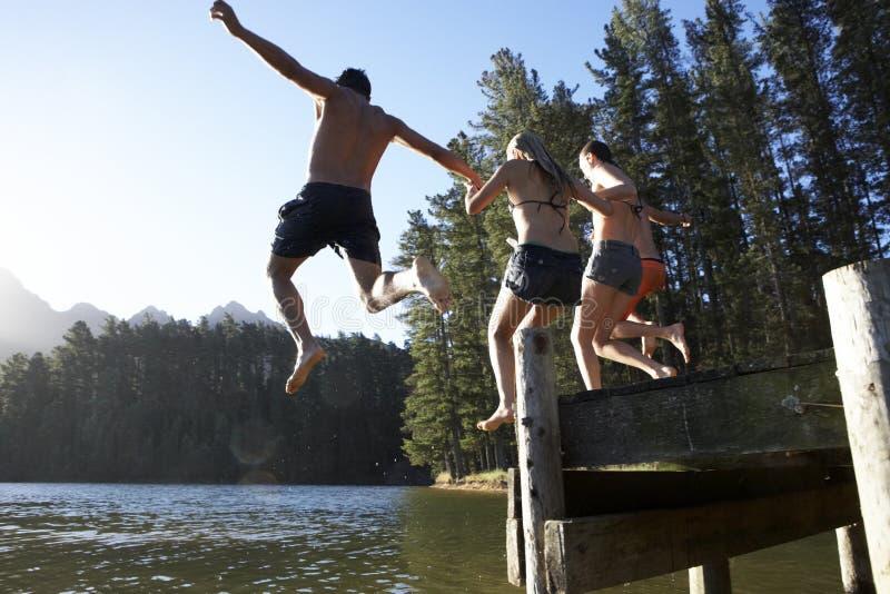 Grupa młodzi ludzie Skacze Od Jetty W jezioro zdjęcie royalty free
