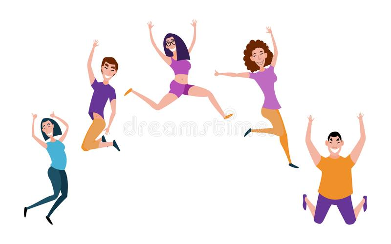 Grupa młodzi ludzie skacze z nastroszonymi rękami odizolowywać na białym tle Szczęśliwi pozytywni młodzi człowiecy i kobiety ilustracja wektor
