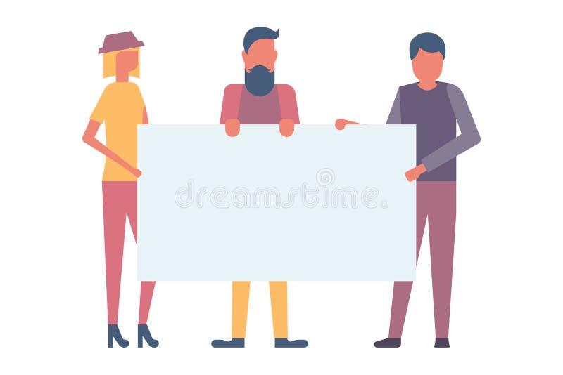 Grupa młodzi ludzie trzyma pustego sztandar ilustracji