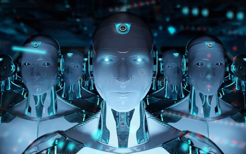 Grupa m?scy roboty po lidera cyborga wojska 3d rendering royalty ilustracja