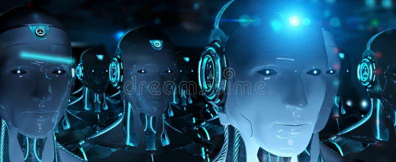 Grupa m?scy roboty po lidera cyborga wojska 3d rendering ilustracja wektor